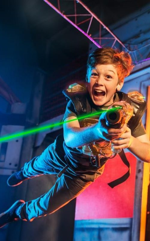 Jumping into laser tag action in Houston!