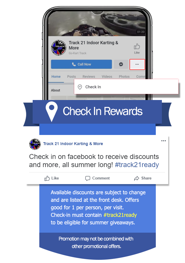 check in rewards available on facebook check in. Offers avialable at front desk good for one per person per visit.
